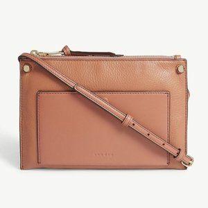 New Sandro Bianca Brown Leather Crossbody Bag